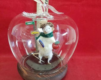 """Taxidermy Mouse """"New York""""-The Big Apple-Glass Apple dome display-anthropomorphic=diorama"""