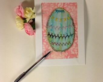 Fiber Art Easter Card, Hand Embroidered Easter Egg Card, Handmade Fabric Greeting Card, Batik Easter Egg Card, Applique Easter Card