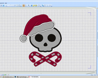 Embroidery Iron-on Patch - Santa Skull
