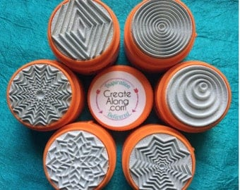 Set of 6 round geometric rubber stamps GEO TextureStax  for polymer clay and mixed media