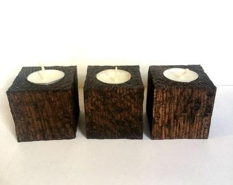 Rough Wood Block Tealight Holders