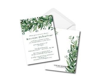 Whimsical Bridal Shower Invitation - Greenery - Olive Leafs