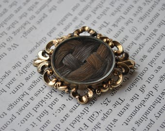 Antique Mourning Hair Brooch - 1890s Early Victorian Hairwork Piece, Double Sided, Gold Filled, Memento Mori, Mourning Jewelry