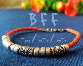 "Morse code bracelet ""BFF"", best friends forever,  BFF,  bestie, gift for friend,  best friend gift, friendship bracelet,  BFF morse code,"