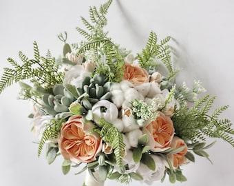 Alternative Wedding bouquet Keepsake succulent bouquet Peach Bridal bouquet Clay bouquet Garden Boho bouquet Bohemian Statement bouquet