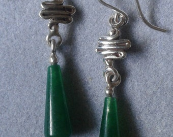 Sterling Silver Squiggle Green Chalcedony Dangle Earrings #ER22SS