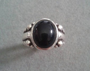 Modern Chunky Sterling Silver Oval Black Onyx Statement Ring #R40SSO