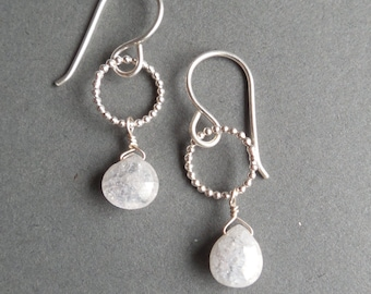 Sterling Silver and Stabilized Fractured Quartz Briolette Drop Earrings