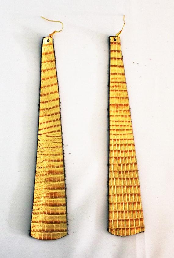 Long strip leather earrings - Lightweight leather earrings - Dangle Earrings - Boho Earrings - Drop earrings - Metallic gold earrings