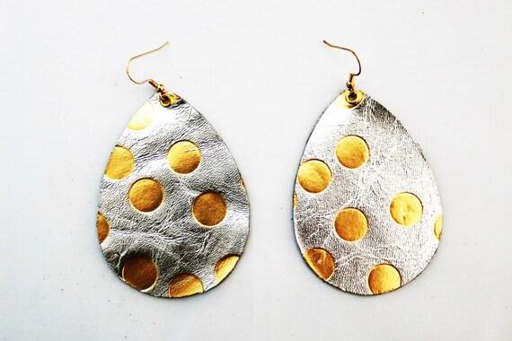 Teardrop Earrings Large - Lightweight leather earrings - Dangle Earring  - Drop earrings - Foil and gold - Silver and gold teardrop earrings