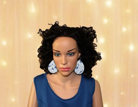 Teardrop Earrings Large - Lightweight leather earrings- Dangle Earring - Drop earring - Baby blue and royal blue clouds of joy teardrops