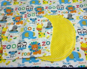 Zoo Animals Lions Elephants with Yellow Poke Dot Backing Hemstitched Baby Blanket and Burps ready for you to crochet by Lindas Hemstitching