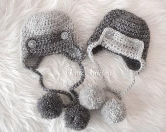 Twin Boy Hats, Twin Earflap Hats, Aviator Twin Hats, Gray Baby Boy Hats, Newborn Twin Outfits, Newborn Twin Hats, Twin Baby Outfits