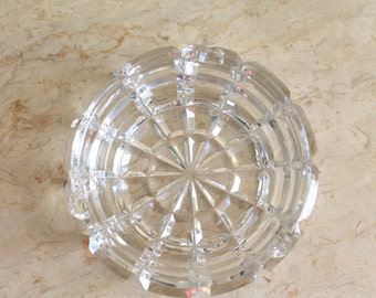 Vintage Lead Cut Crystal Ashtray, Crystal Ashtray, Lead Glass Ashtray, Cut Glass Ashtray