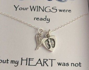 Keepsake Remembrance Sterling Silver Heart Baby Footprints & Angel Wing Necklace Your WINGS were ready but my HEART was not
