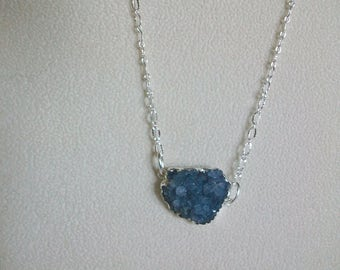Blue Druzy Necklace with Silver Chain