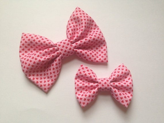 Pink with red hearts valentine's handmade fabric hair bow or headband