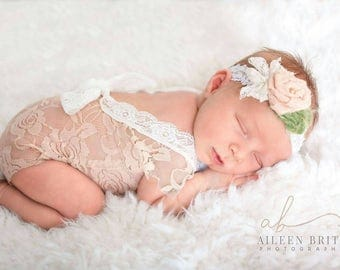 Newborn romper prop girl mocha brown  baby girl lace photo outfit baby girl open back romper and headband props newborn photography RTS