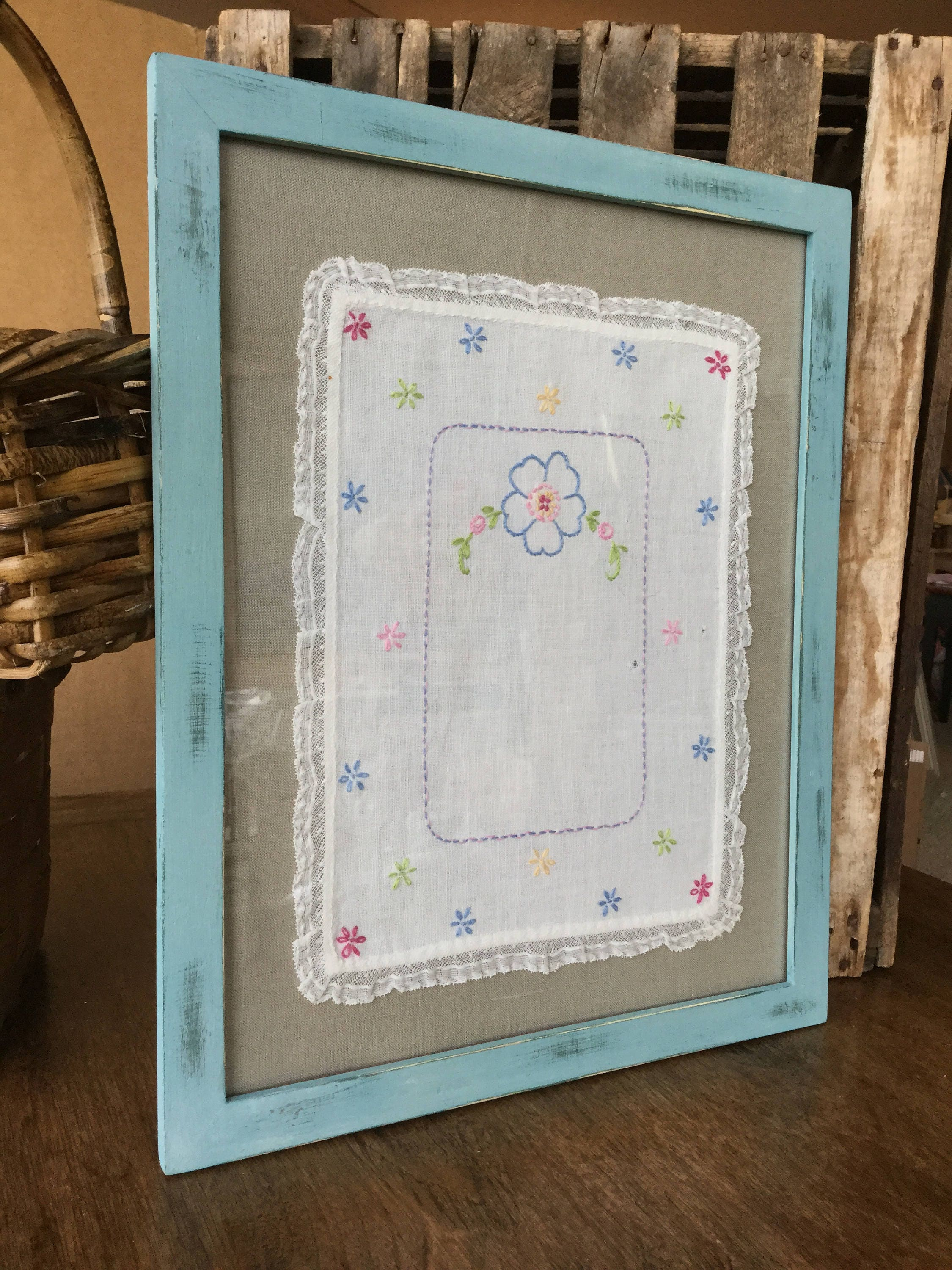 Framed vintage embroidery lace trim floral design choice of framed vintage embroidery lace trim floral design choice of yellow or blue frame jeuxipadfo Gallery