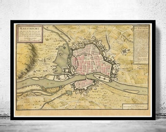 Old Map of Maastricht Netherlands 1700