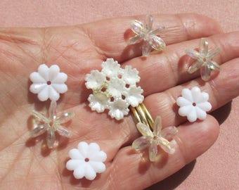 Lot Of Assorted Flower Shaped Plastic Beads Embellishment White Iridescent