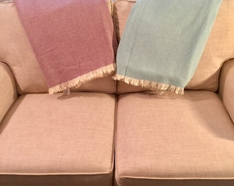 Soft wool throws -hand fringed