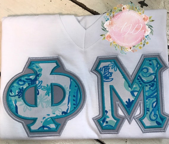 Sorority letter shirt lilly pulitzer fabric phi mu sigma for Lilly pulitzer sorority letters