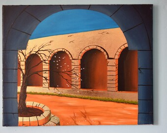 Courtyard with gold leaf - Original Oil Painting
