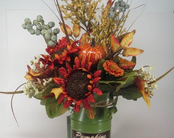 Fall Harvest Autumn Floral Centerpiece Pumpkin Milk Can Sunflower Thanksgiving