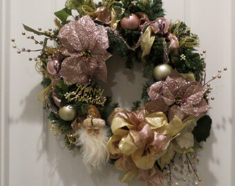 Pink Christmas Wreath, Gold Santa, Wreath For Front Door, Pink Blush, Old World, Traditional Elegant Santa FREE SHIP