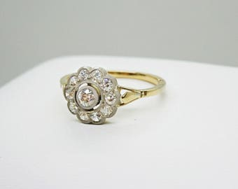 Victorian 0.35 ct tw European Cut Diamond Flower/Cluster Ring, 14k Gold & Silver