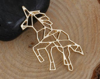 """5 Origami Pendants - Charms - UNICORN - Gold Plated - Hollow 30 mm  1 1/8"""""""