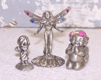 Pewter Angels Figurines: Miniature Spoontiques Diamond-Cut Winged Crystal Fairy Kneeling Praying Girl Hallmarks Gallery Little Girl Praying