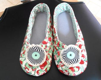 SLIPPERS red and green flowered kimono T37 woman