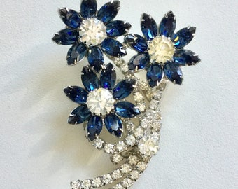 Vintage Blue Rhinestone Flower Brooch EXQUISITE