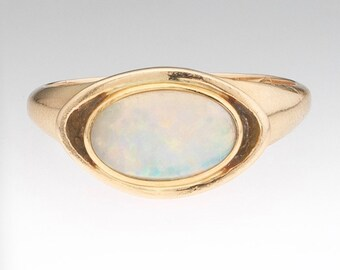 14K Yellow Gold Vintage Modernist Opal Ring, Size 7.5, Signed WS