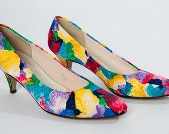 Vintage 80's Joyce Floral Fabric Pumps / Heels / Size 7