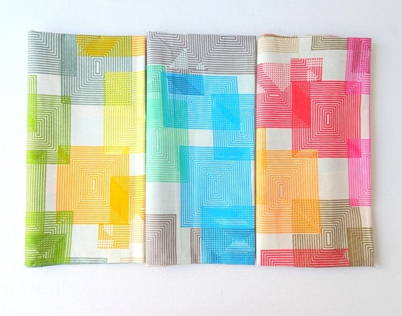Geometric lightweight fabric in pastel colors, multi colors Indian fabric, soft colors dress fabric, quilting, half yard