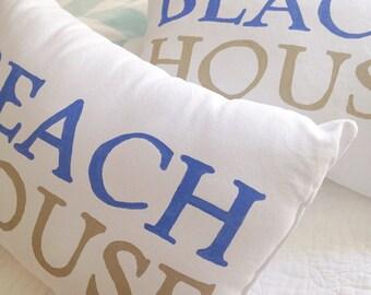 BEACH HOUSE Pillow - beach cottage decor, beach pillow, coastal decor, beach house gift, coastal pillow