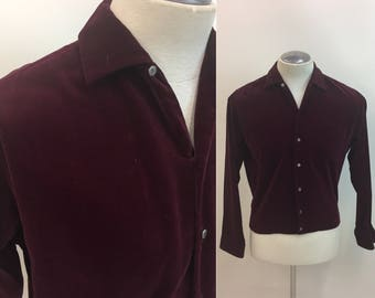 1950s 1960s VELVET Mens Shirt / Vintage Puritan Shirt Jac / Deep Burgandy cotton Velvet
