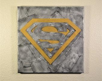 Steampunk Art, Industrial Art, Metal Look Art, Mixed Media Art, Wall Art, 3D canvas, 3D Art, Superman Art, Superman Wall Art,