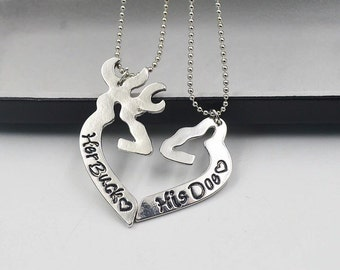Her Buck His Doe Necklace Set. Country Jewelry, Couples Jewelry.