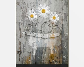 Rustic Monder Bathroom Pictures, Daisy Flowers, Bathtub, Farmhouse/Country Bath Pictures, -8x10  Print matted to 11x14 white mat
