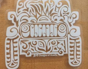 "Sticker - ""Jeep Tribal Tattoo"" - WHITE with CLEAR background Vinyl Sticker"