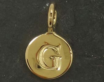 Gold on sterling silver round letter charm G, gold initial G charm,  stamped gold letter charm  , G gold vermeil initial charm