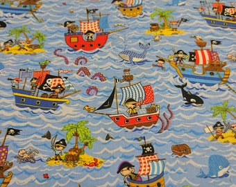 Treasure Island - Ships. Pirates, Whales, Octopus, Islands fabric by Nutex