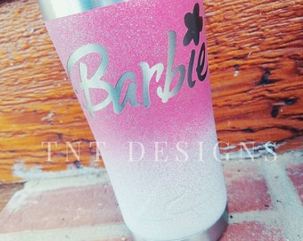 Barbie painted 20 oz stainless steel tumbler cup