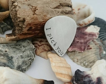 Hand stamped plectrum - I pick you - Personalised Pick - Available in copper, brass or steel - Guitar pick - Choose your words