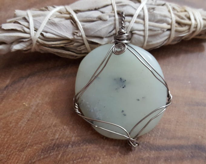 Prehinite with Epidote wire wrapped pendant, Reiki infused (WW06)