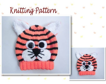 Knitting Pattern Tiger Hat Tiger Baby Beanie Hat Animal Hat Character Hat Novelty Hat Beanie Hat Baby Hat